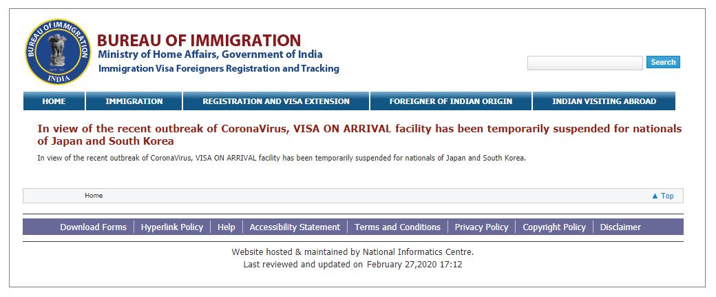 インド移民局が2020/2/27に発表したトラベルアドバイザリー