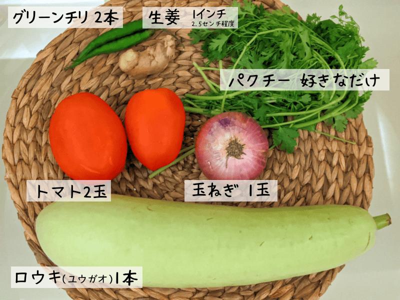 ユウガオのカレーを作るのに使用した野菜