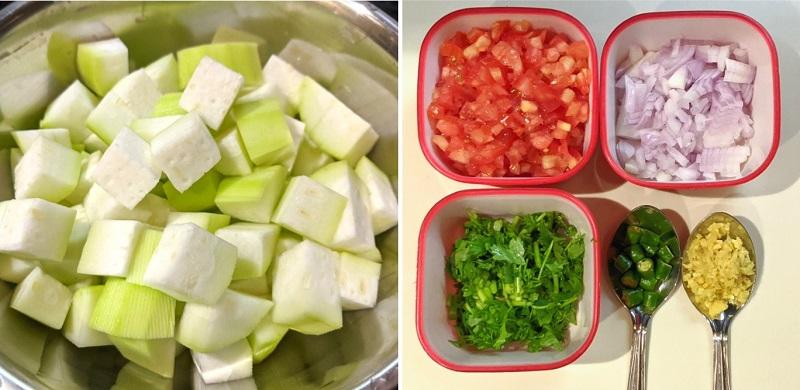 ユウガオのカレーの作り方(①野菜を切る)