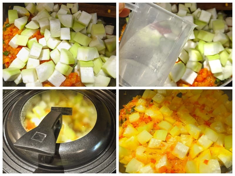 ユウガオのカレーの作り方(④具材を煮込む)