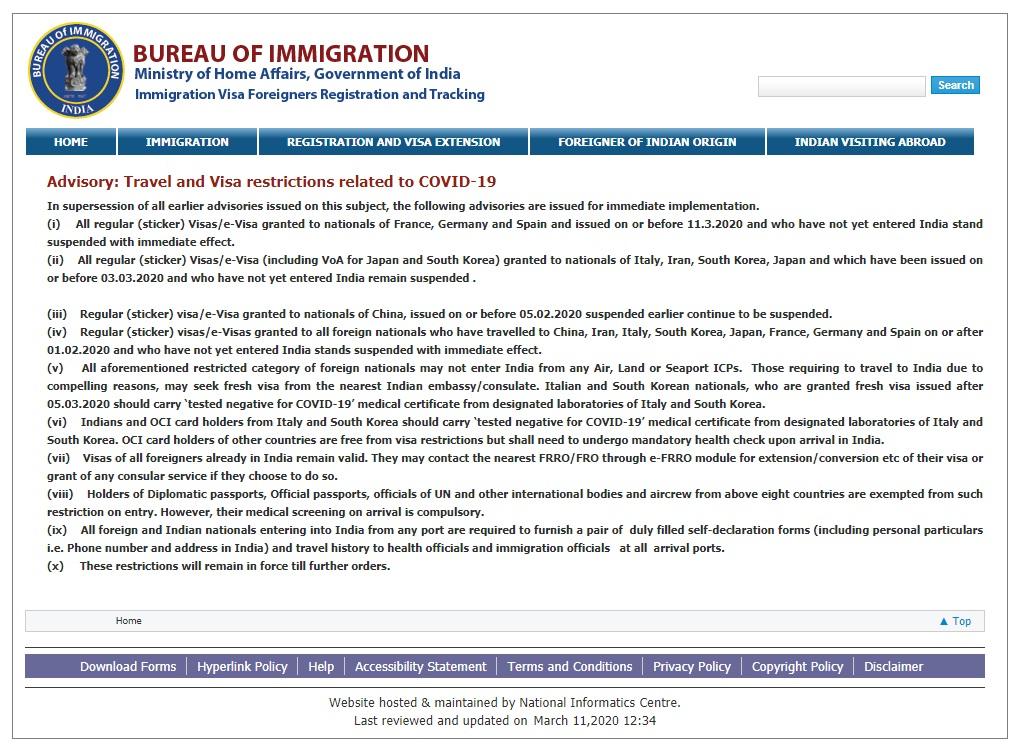 インド移民局が2020/3/11に発表したトラベルアドバイザリー