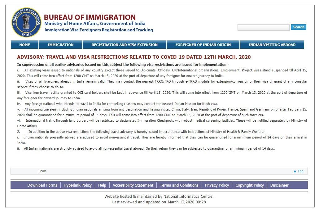 インド移民局が2020/3/12に発表したトラベルアドバイザリー