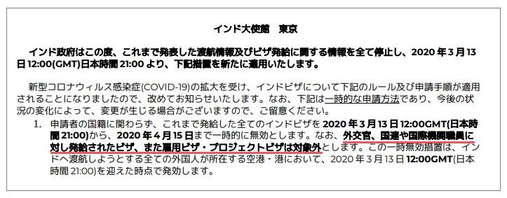 在東京インド大使館が2020/3/12に発表したトラベルアドバイザリー