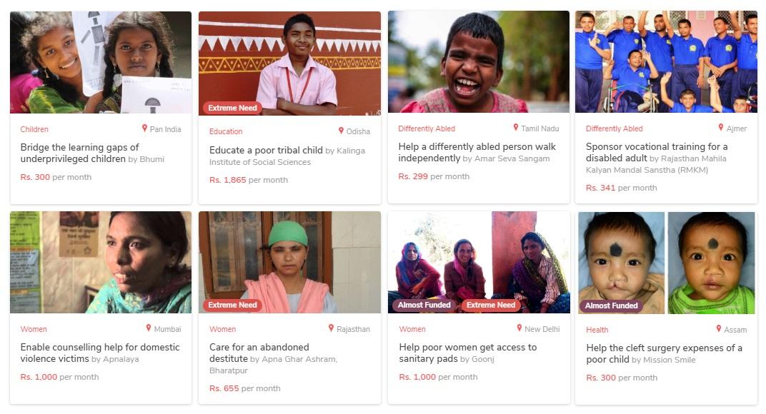 GiveIndiaのプロジェクト一例