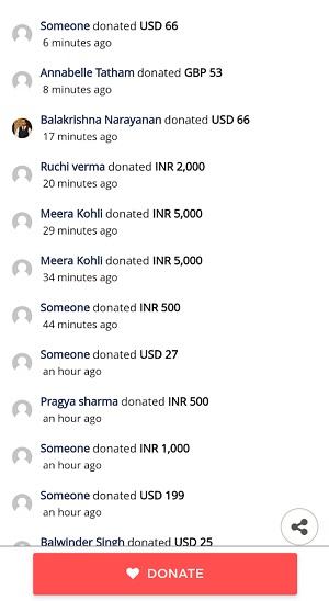 リアルタイムで表示される寄付金