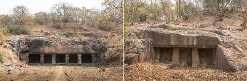 エレファンタ島石窟寺院 第6窟(左)、第7窟(右)