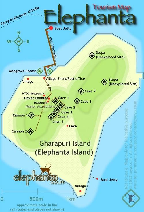 エレファンタ島の地図