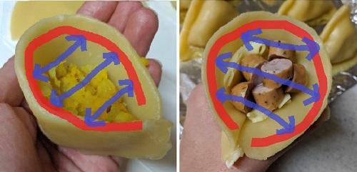 サモサの包み方(間違い)