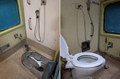 インド国鉄車両のトイレ
