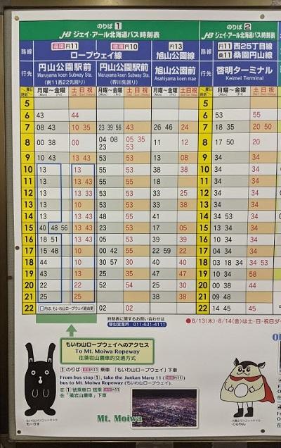 円山公園駅前の時刻表