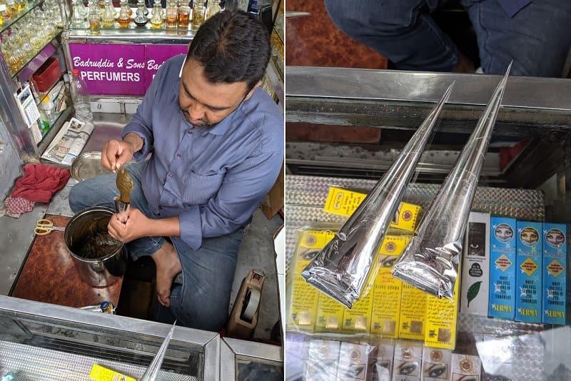 行きつけのヘナ屋で、店主がヘナコーンにヘナペーストを詰めているところ