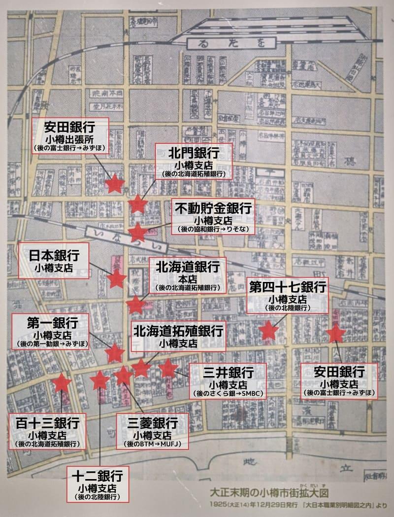 大正後期の小樽市街地の地図
