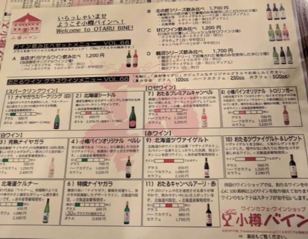 小樽バインのメニュー