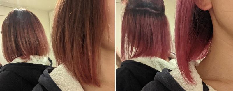 カラーバター塗布後の髪色