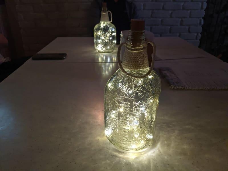 オールドモンクの空き瓶をリサイクルしたランプ