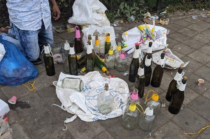 お酒の空き瓶でリサイクルランプを作る人達②