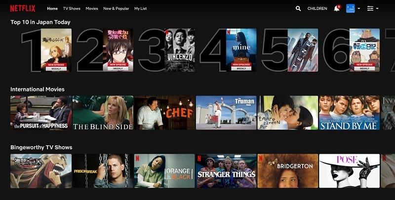 Netflixのトップ画面(日本からのアクセス)