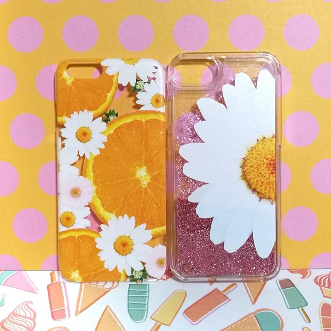 押し花風 iPhoneケース オレンジ 花
