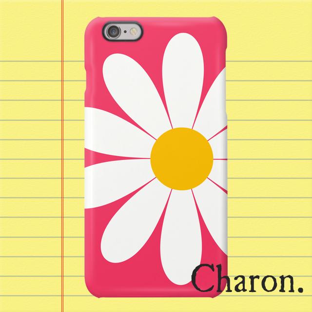 iPhoneケース 白いお花 ピンク