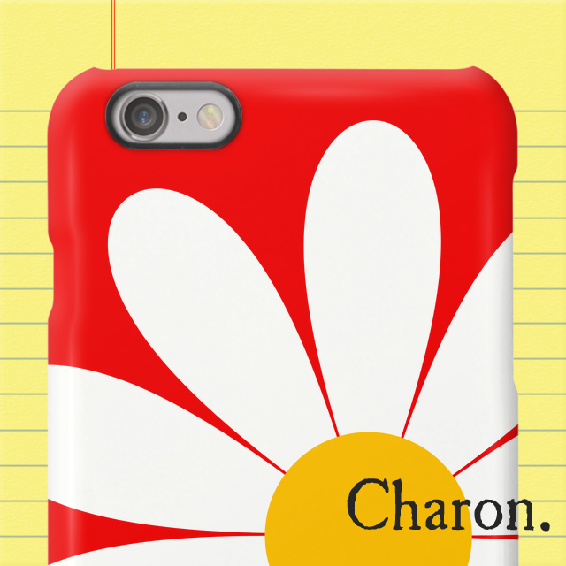 iPhoneケース 白いお花 赤