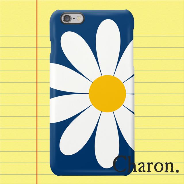 iPhoneケース 白いお花 紺