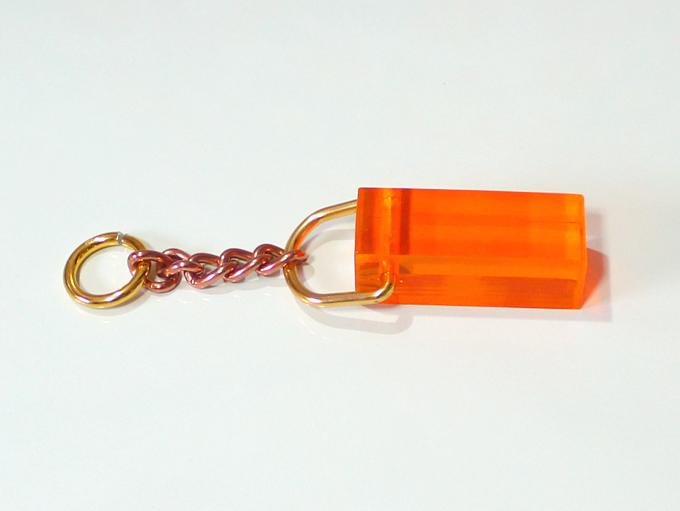 アクリルキー棒 アクリルキーホルダー 4.8cm オレンジ
