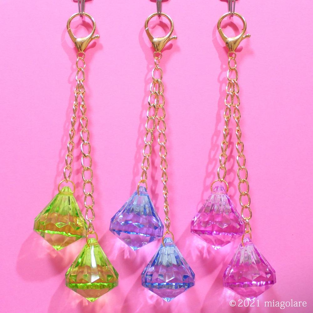ダイヤモンド型 アクリルとパーツ アクリルビーズ バッグチャーム