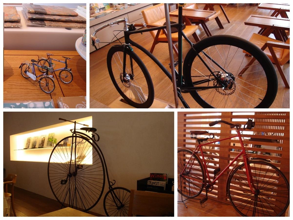 自転車カフェの店内の自転車達