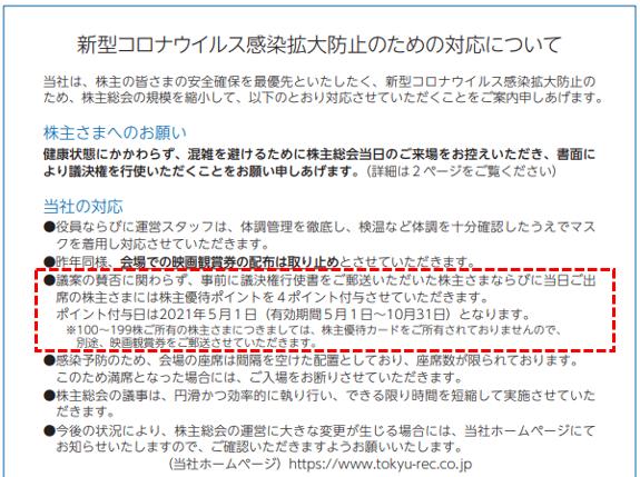 株主総会 東急レクリエーション 株主優待