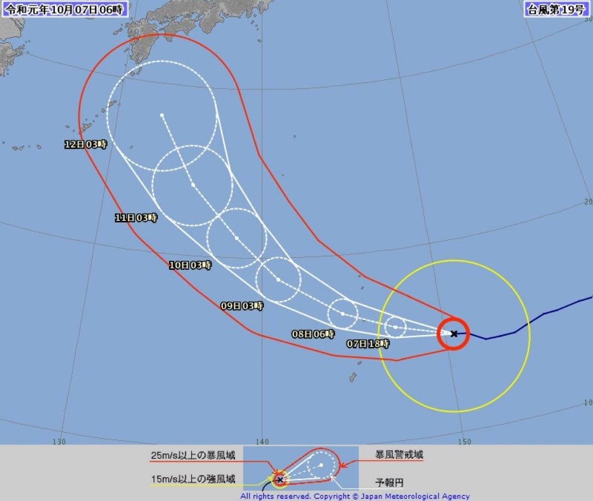 台風19号進路予想10月7日