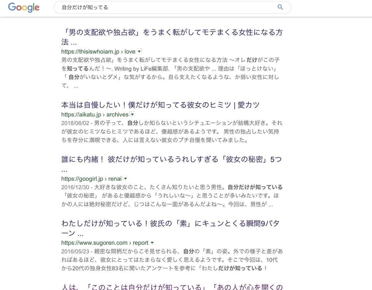 Google検索「自分だけが知っている」