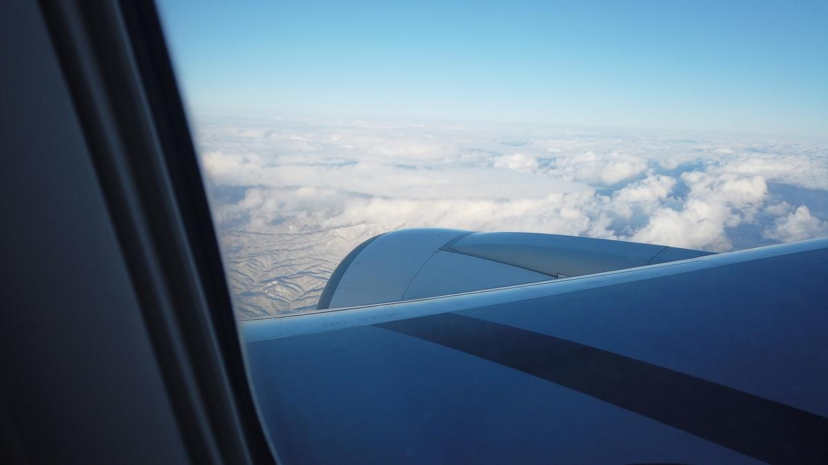 上空から見た雪景色の北海道