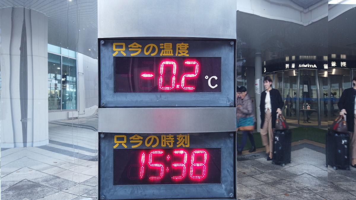 旭川空港の温度計