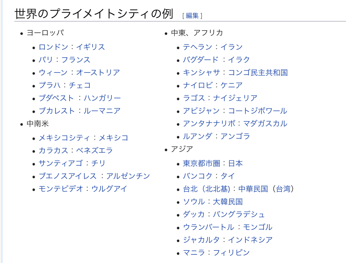 Wikipedia 世界のプライメイトシティ