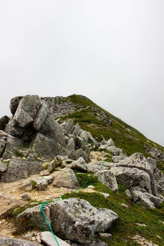 稜線から見た山頂方向