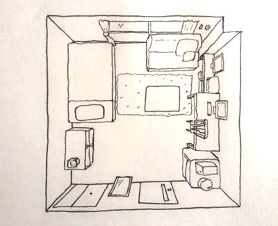 部屋の家具が一番多いときの上から見たイラスト