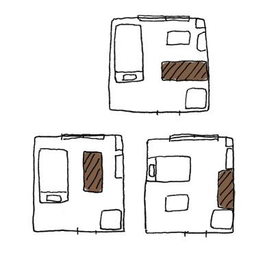 机の配置パターンのイラスト