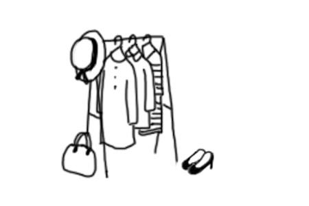 ハンガーラックに服と帽子がかかっているイラスト