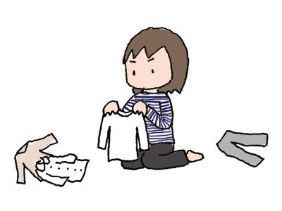 服の整理中イラスト