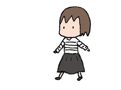 ボーダー服+黒スカート