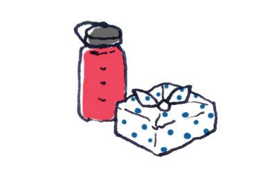 弁当と水筒のイラスト