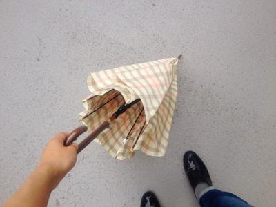チェック柄の傘を閉じたとこ