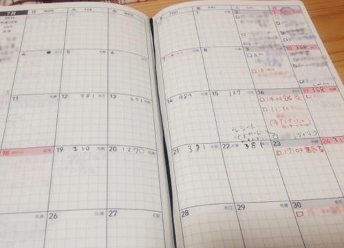 スケジュール帳 月間ページにその日使ったお菓子代を記録したところ