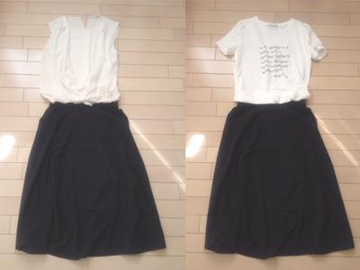 白ブラウス、Tシャツとスカートのコーデ