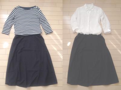 ボーダー、リネン白シャツとスカートのコーデ