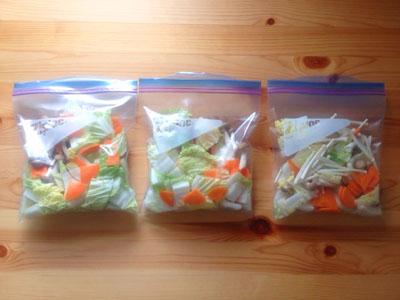 ジップロックに入れて冷凍した野菜