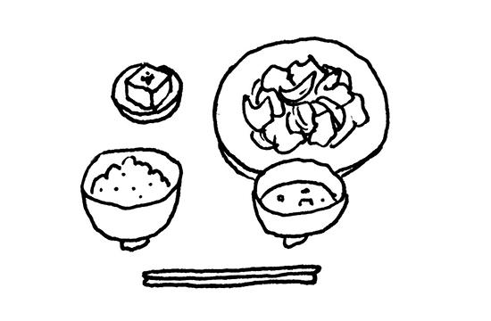 定食 野菜炒め イラスト