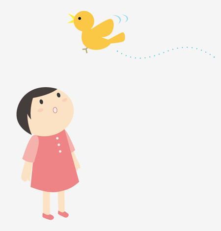 $ゆるかわイラスト工房 chihiro-12pic_035_girl_bird