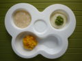 [離乳食]きなこがゆ、じゃがいものミルク煮、ほうれん草と小松菜、かぼちゃの