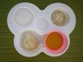 [離乳食]10倍がゆ、カレイと豆腐のだしのばし、じゃがいものだし煮、パンプキ